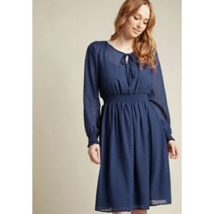 Modcloth Clip Dot Long Sleeve Dress in Blue